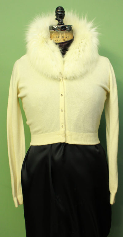 Beige Sweater with Fox Fur Collar