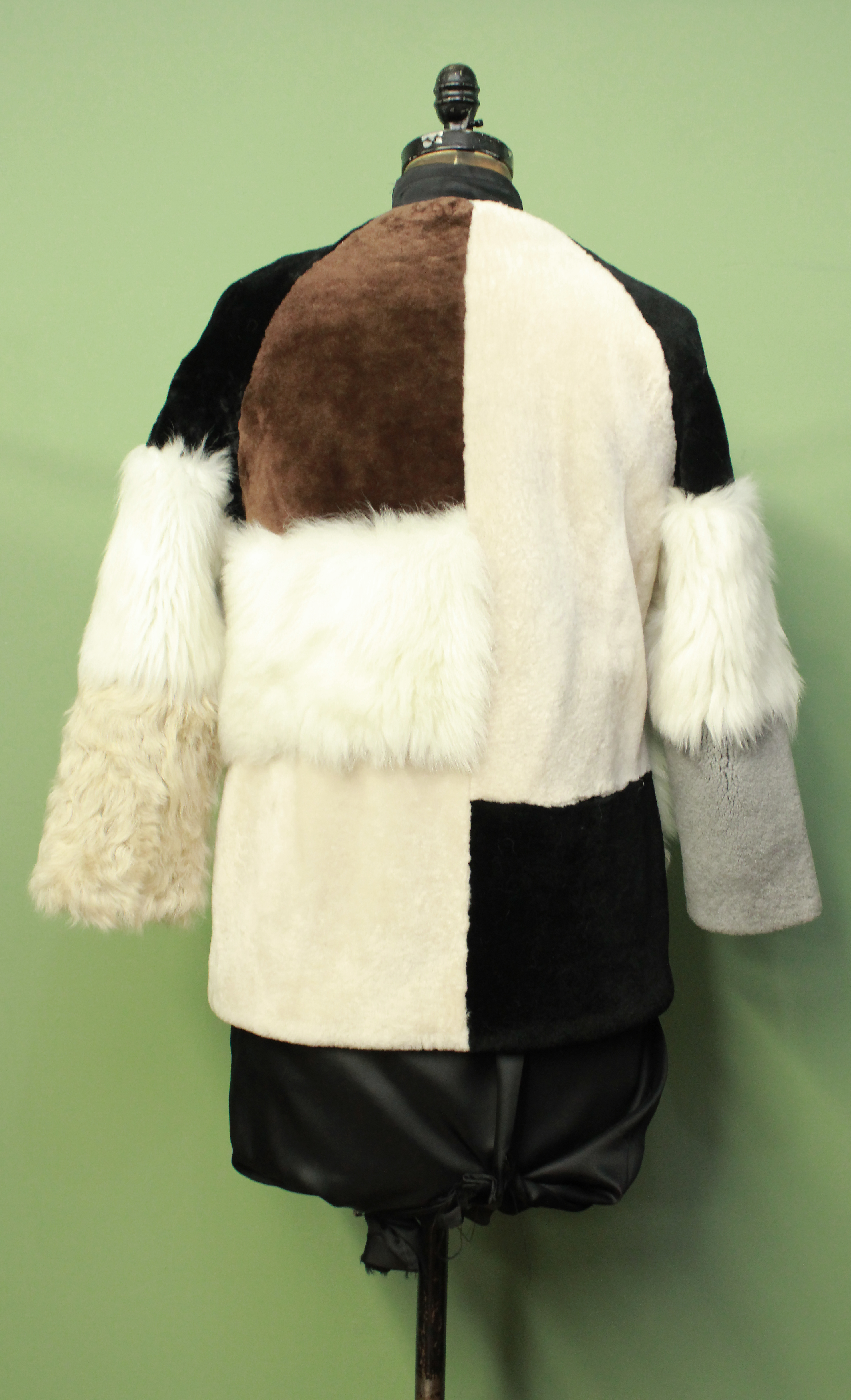 Multi Colored Shearling Fur Jacket Chinese Collar