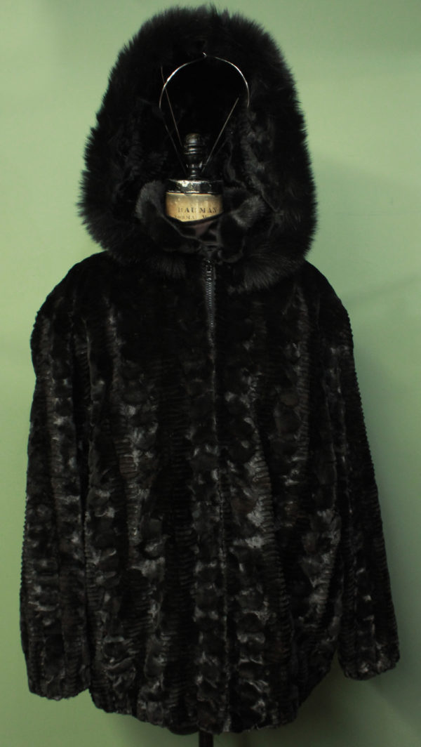 Mens Ranch MInk Fur Laser Cut Jacket Detachable Collar