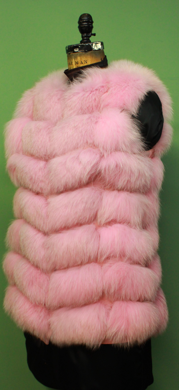 Pink Fox Fur Vest