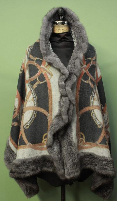 Cashmere Cape Blue Iris Knit Mink Fur Trim