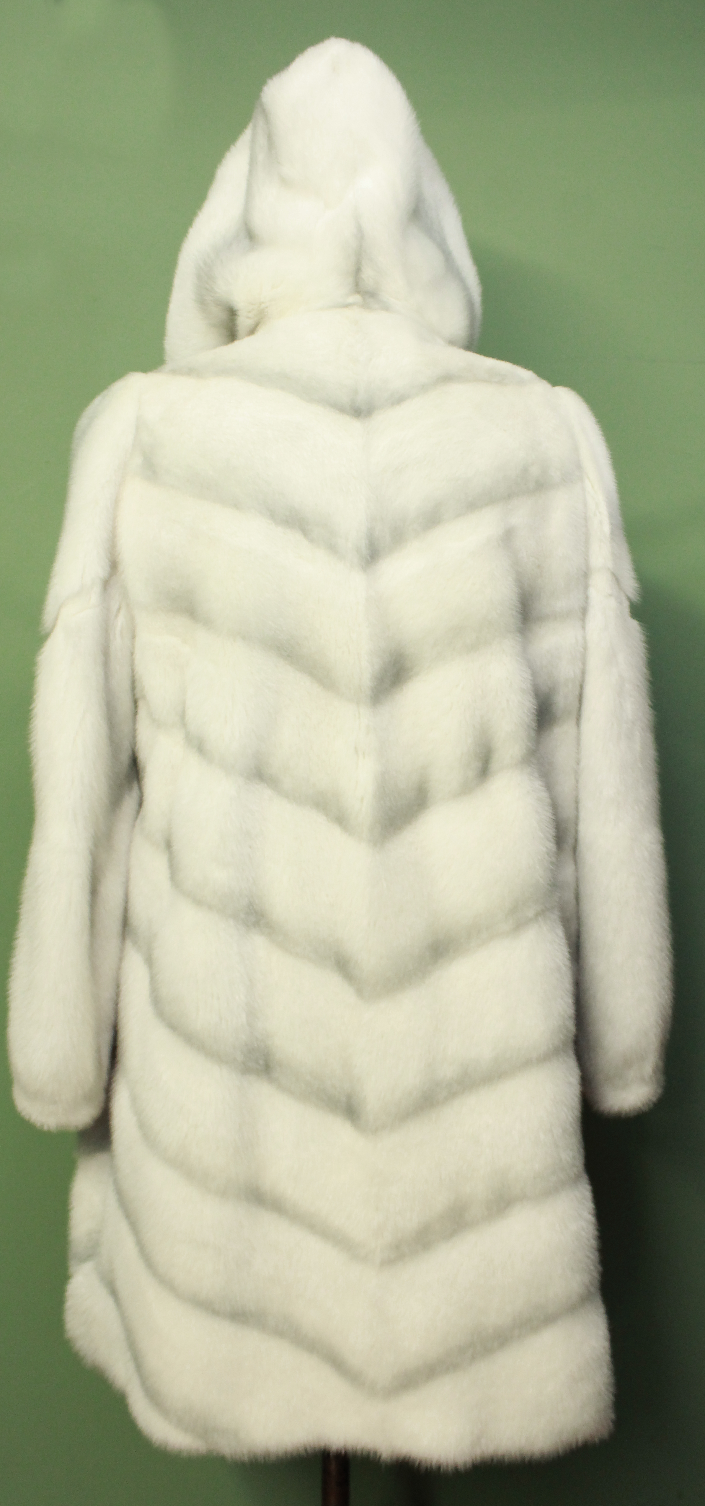 Off White Hooded Mink Fur Shadow Coat