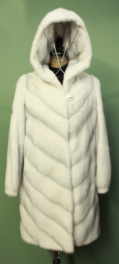Off White Hooded Mink Fur Shadow Coat