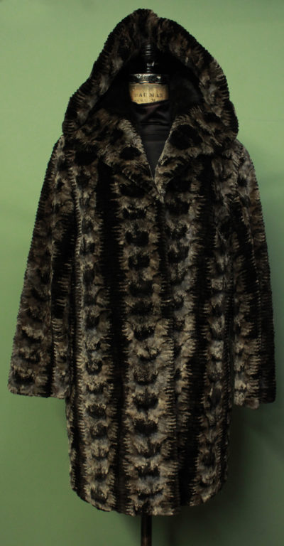 Brown Laser Cut Mink Fur Coat Shawl Collar Hood
