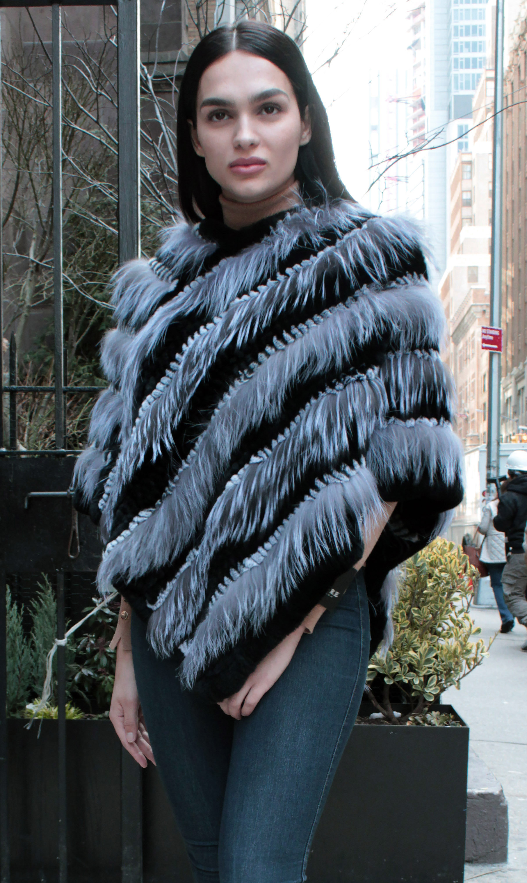 Grey Black Rex Rabbit Fur Fox Fur Poncho