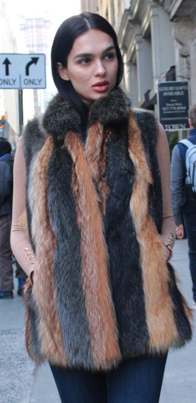 Striped Golden Raccoon Fur Vest