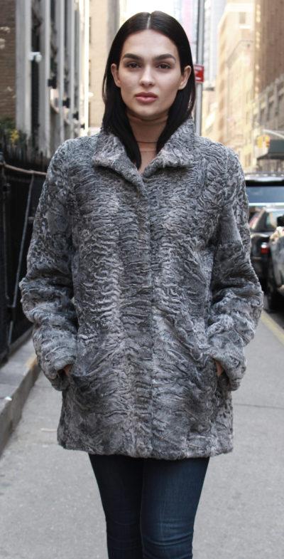 Grey Persian Lamb Fur Coat