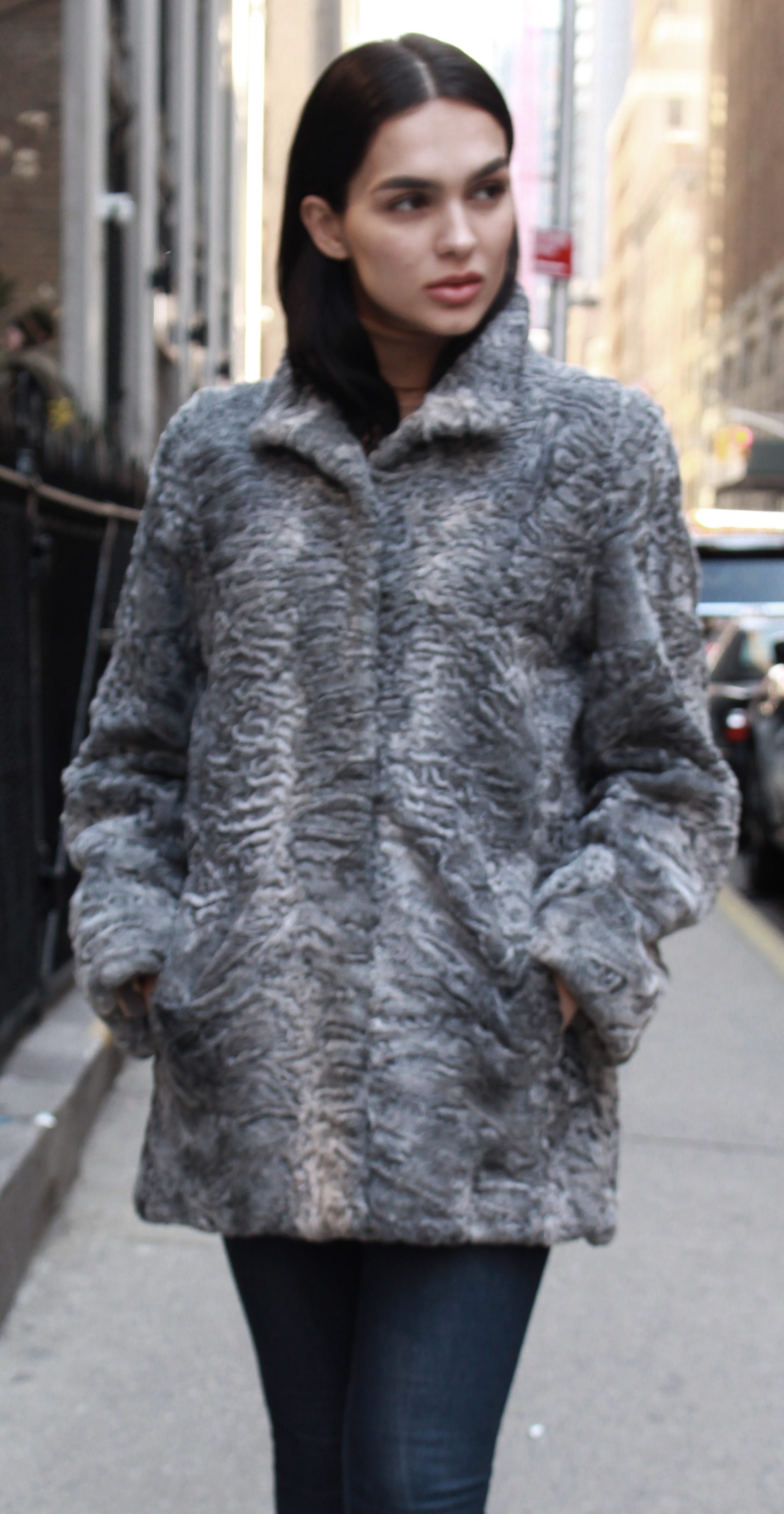 Grey Persian Lamb Fur Coat
