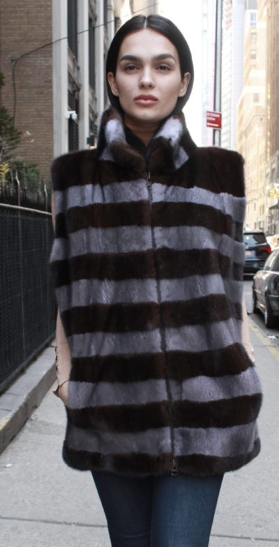 Brown Grey Striped Mink Fur Vest