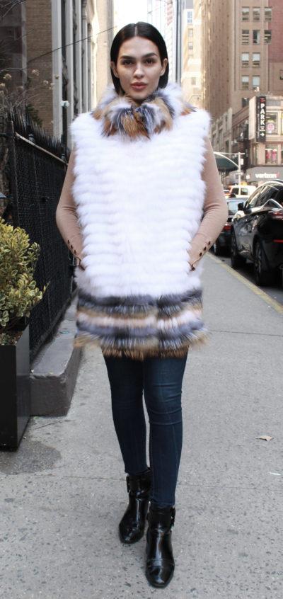 Rabbit Fur Vest Colorful Trim