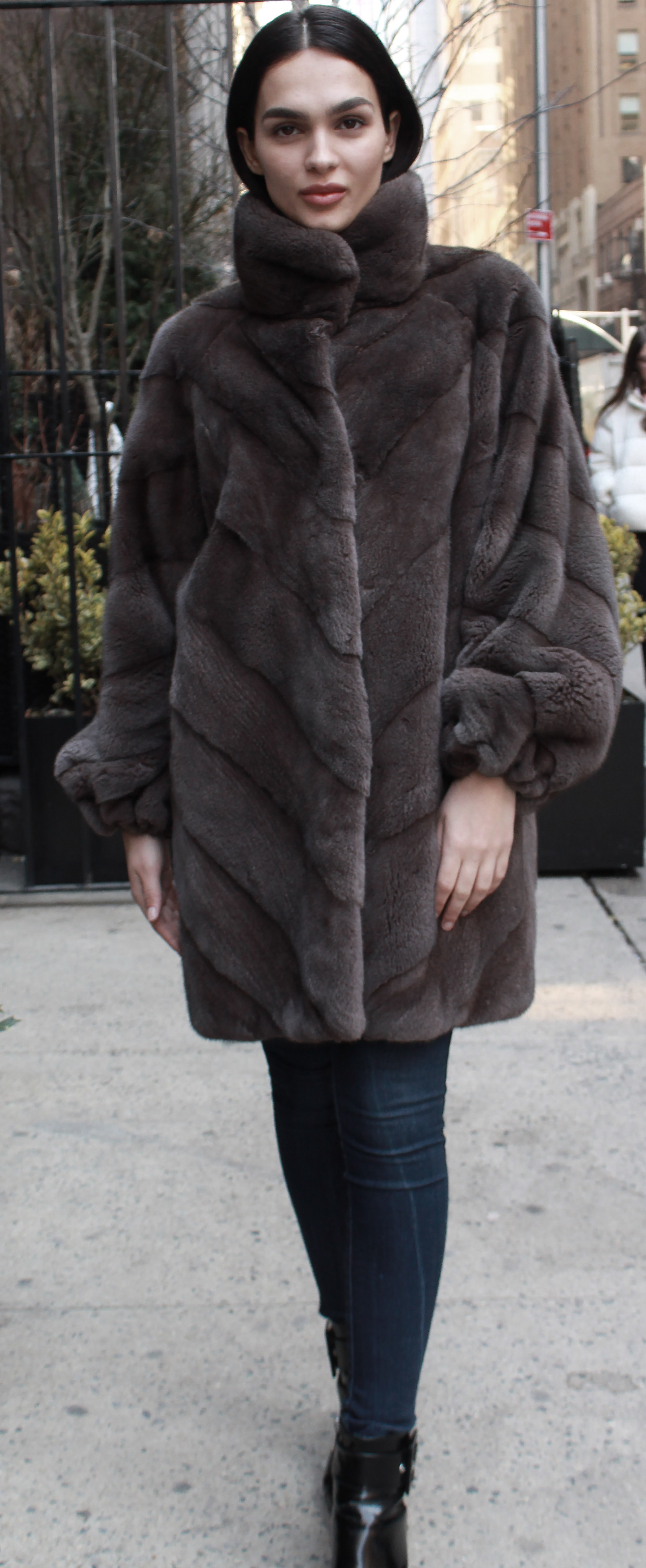 Demi Cross Mink Fur Coat