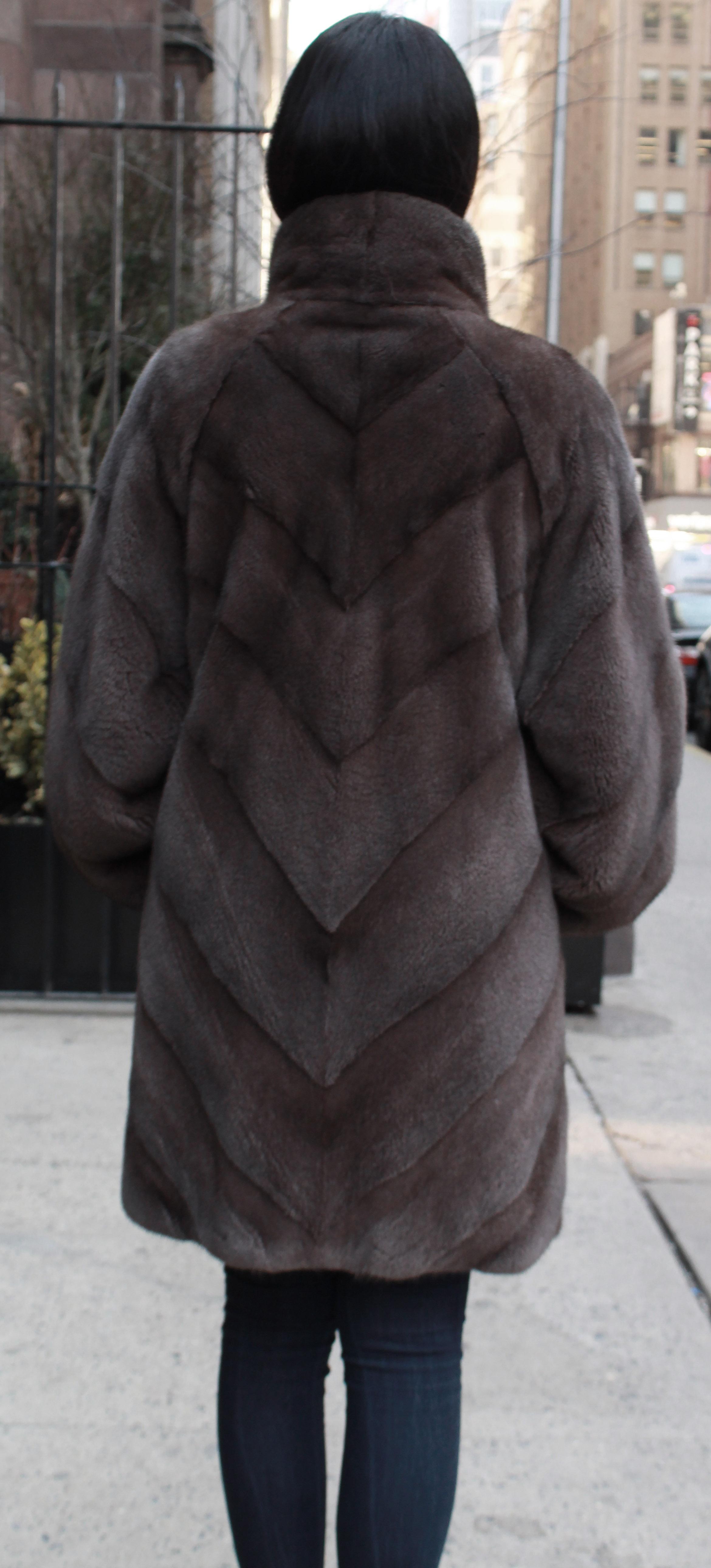 Demi Cross Mink Fur Coat