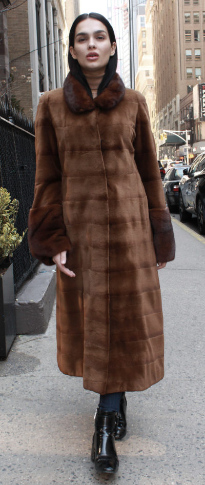 4b1202d3c8bd0a Brown Sheared Horizontal Mink Fur Coat Long Haired Mink Fur Collar Cuffs