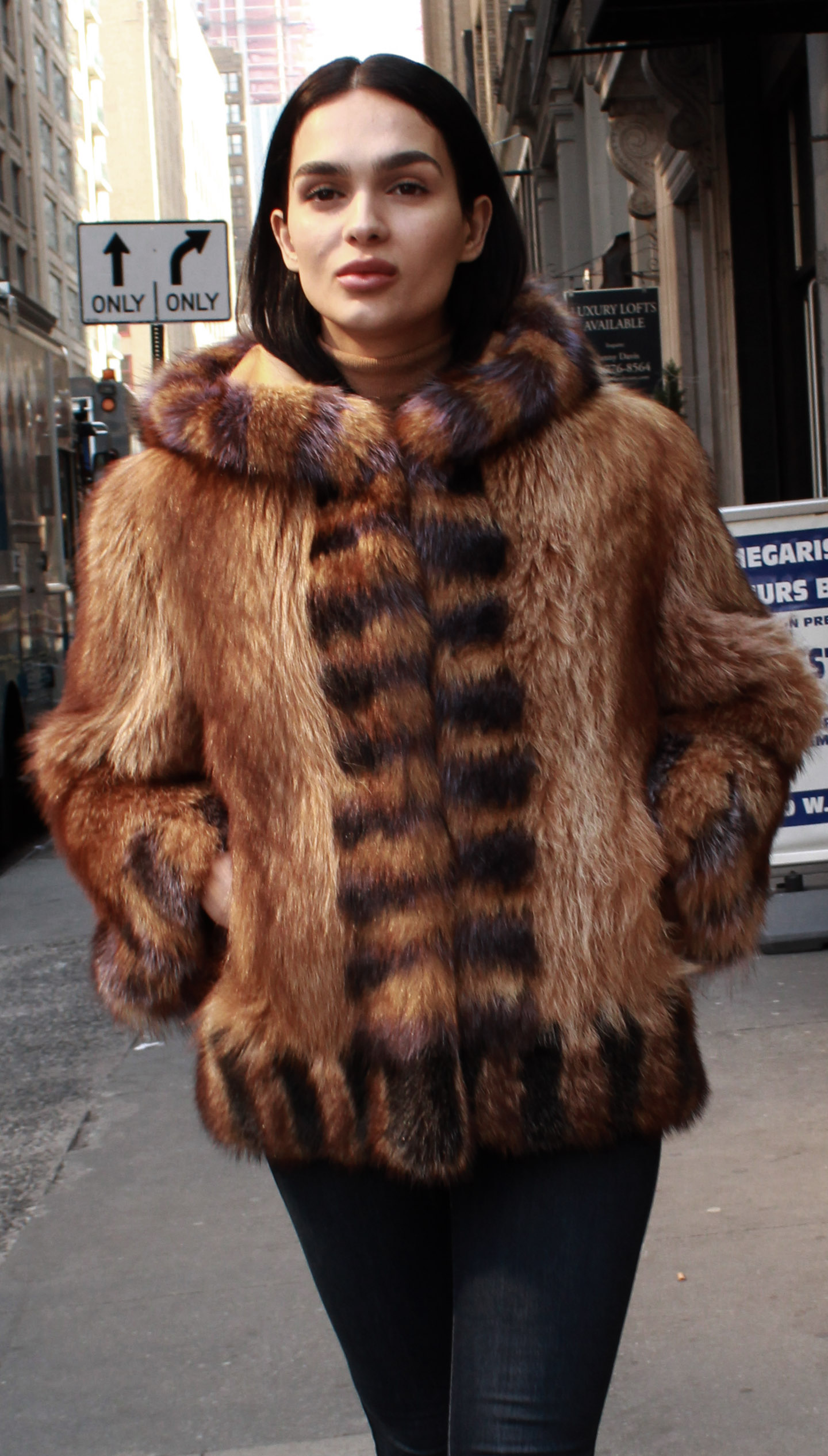 Hooded Raccoon Fur Jacket