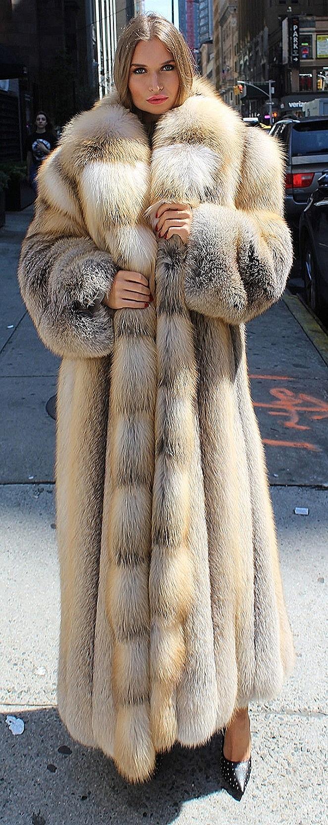Full Length Golden Island Fox Coat