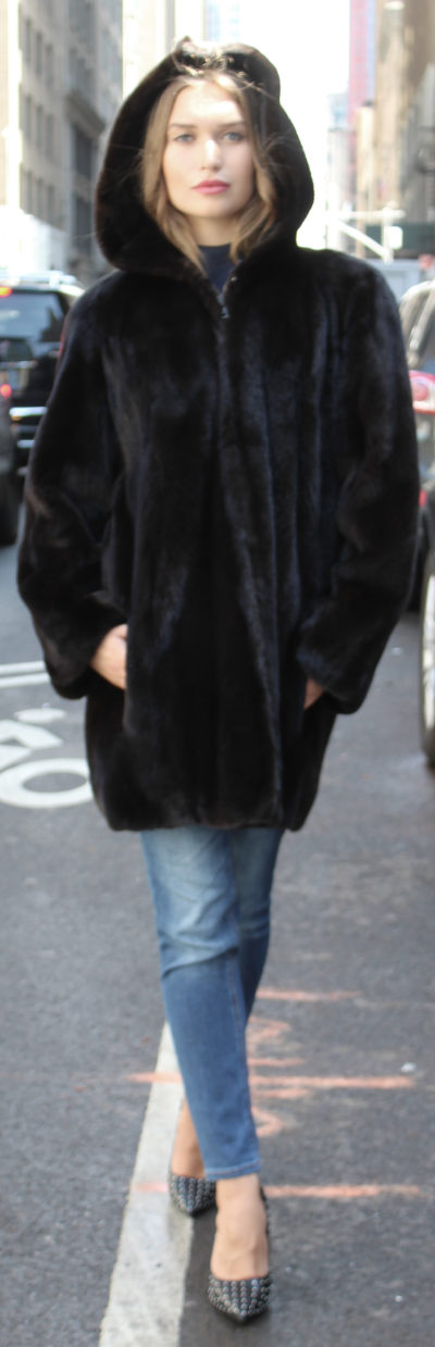 Brown Sheared Mink Fur Jacket Zippered Hood