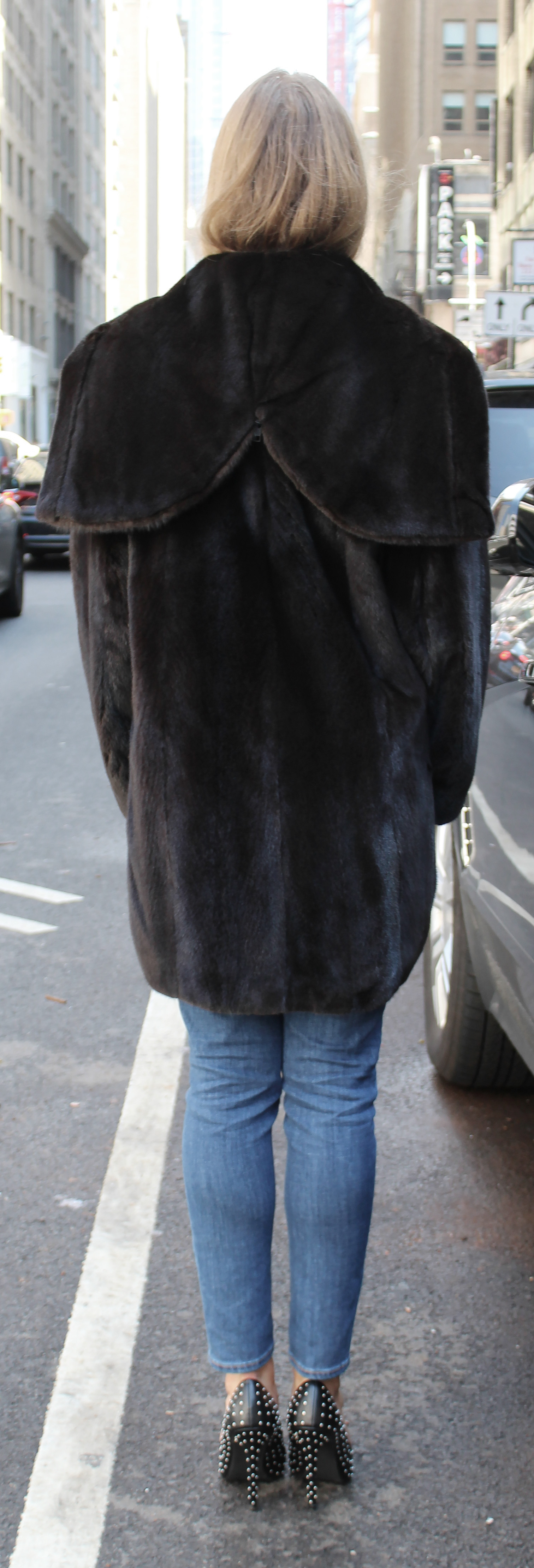 Ranch Mink Fur Bomber Jacket Zippered Hood