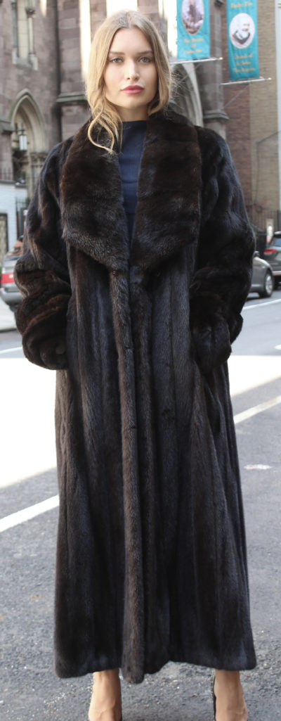 Full Length Brown Mink Fur Coat