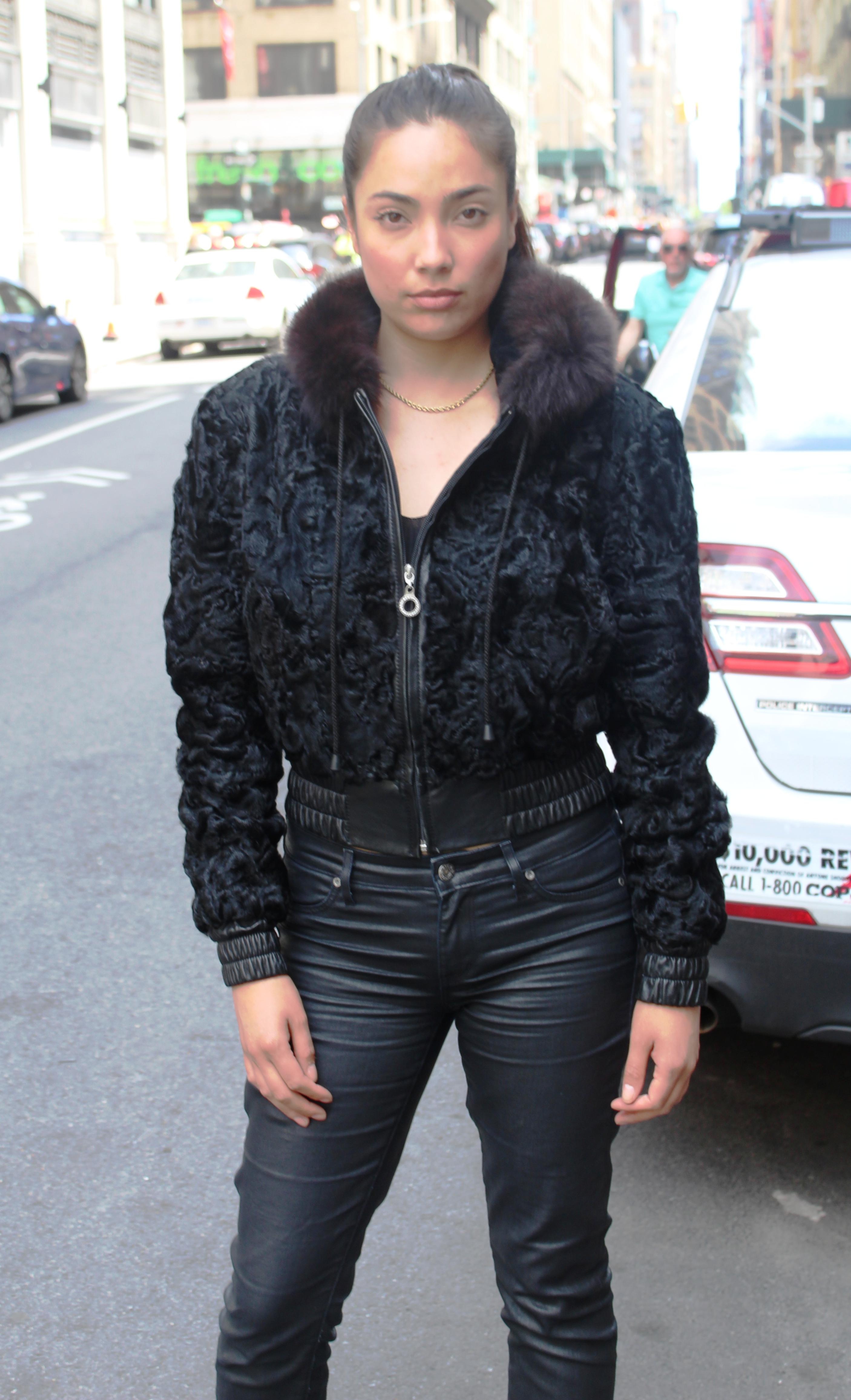 Black Persian Jacket Hood Black Fox Trim
