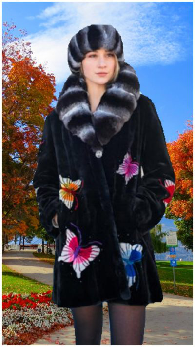 women wearing Zuki Sheared Beaver Stroller Chinchilla Collar Butterflies
