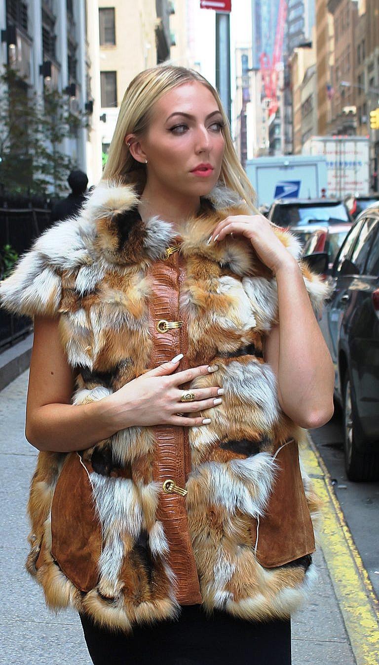 Red fox fur vest leather trim
