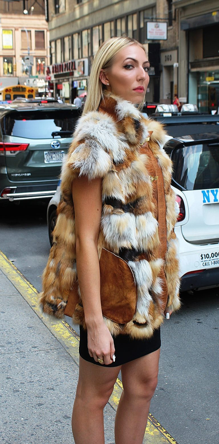 Red fox fur vest leather trim