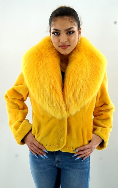 Zuki Yellow Sheared Beaver Jacket Fox Collar