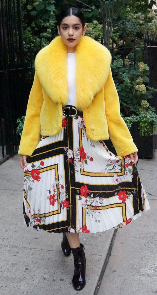 Zuki Yellow Sheared Beaver Jacket Fox Collar