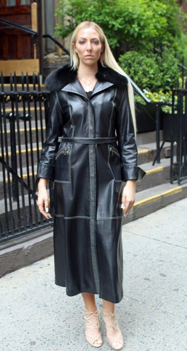 Italian Designed Black Leather Coat Fox Collar