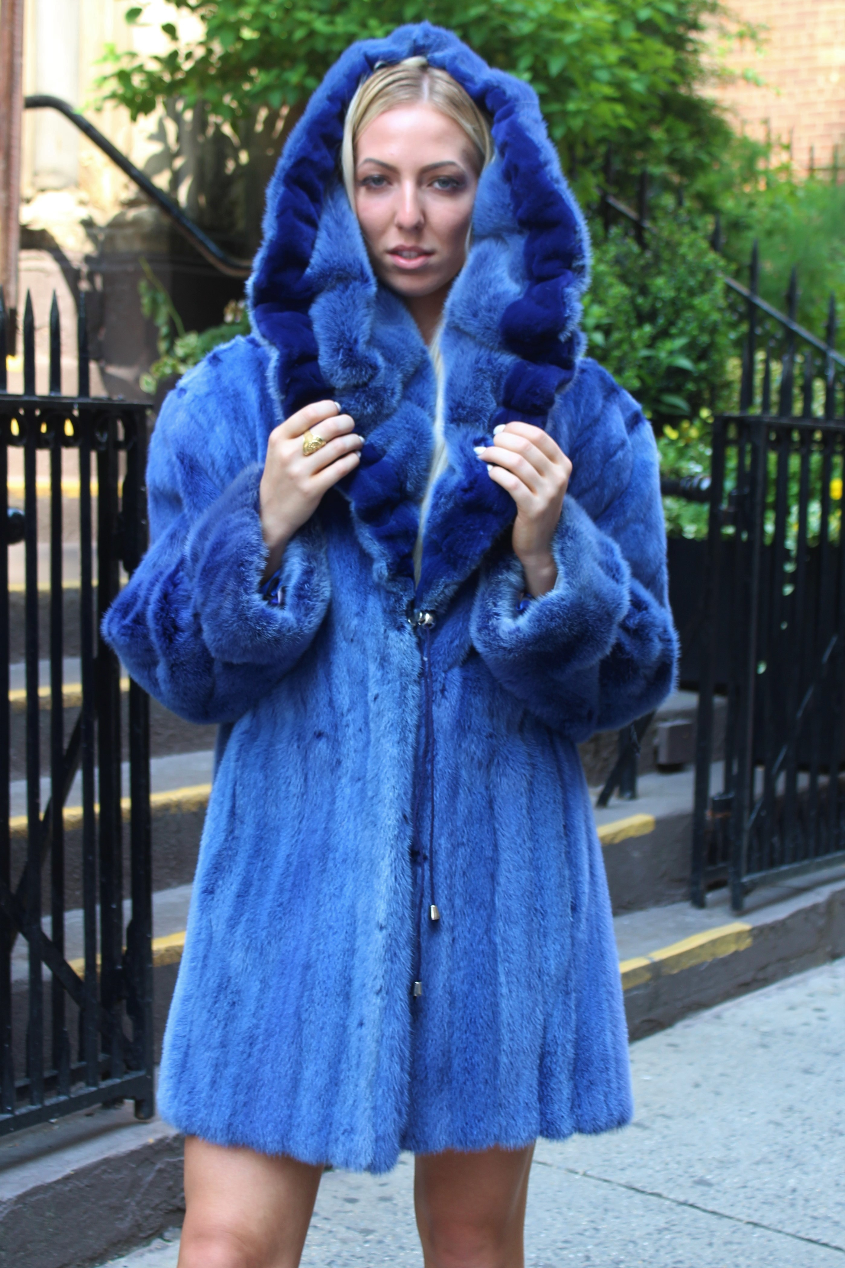 Blue Mink Stroller Sheared Mink Trim Hood
