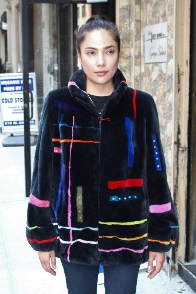 Zuki Sheared Beaver Jacket Abstract Colors