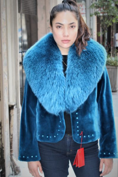 Zuki Blue Sheared Beaver Jacket Fox Collar