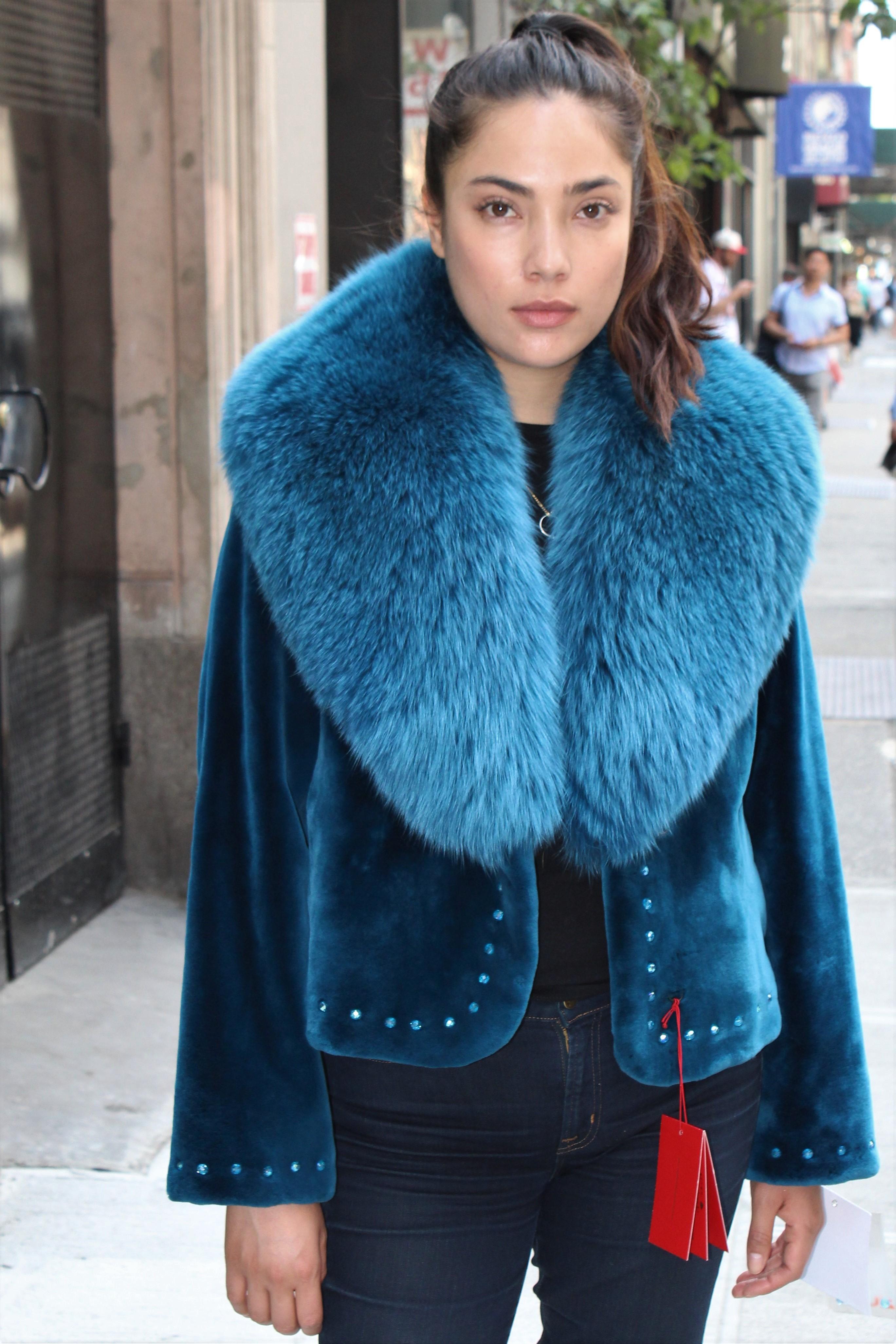 Zuki Blue Sheared Beaver Jacket Fox Collar