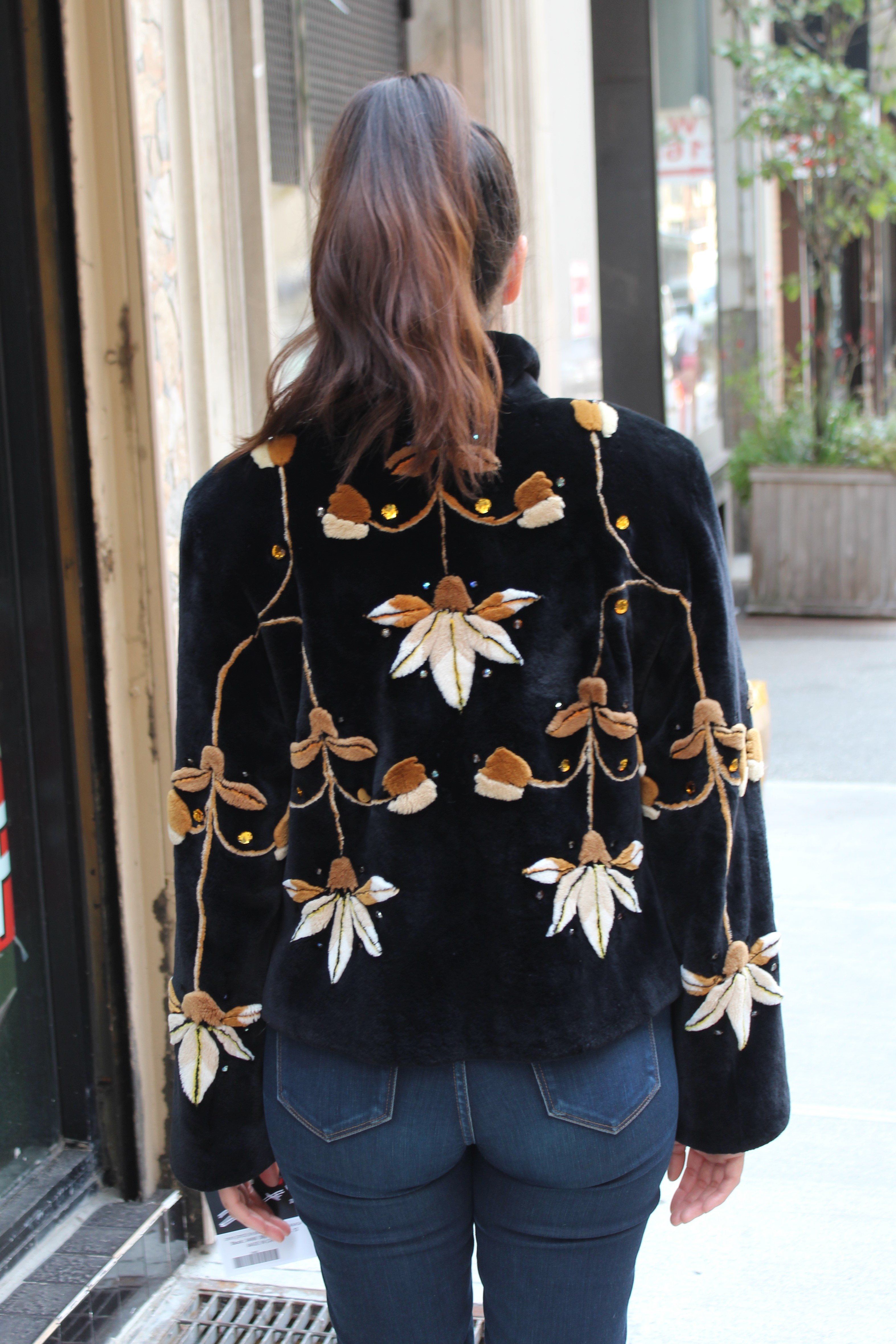 Sheared Beaver Jacket Floral
