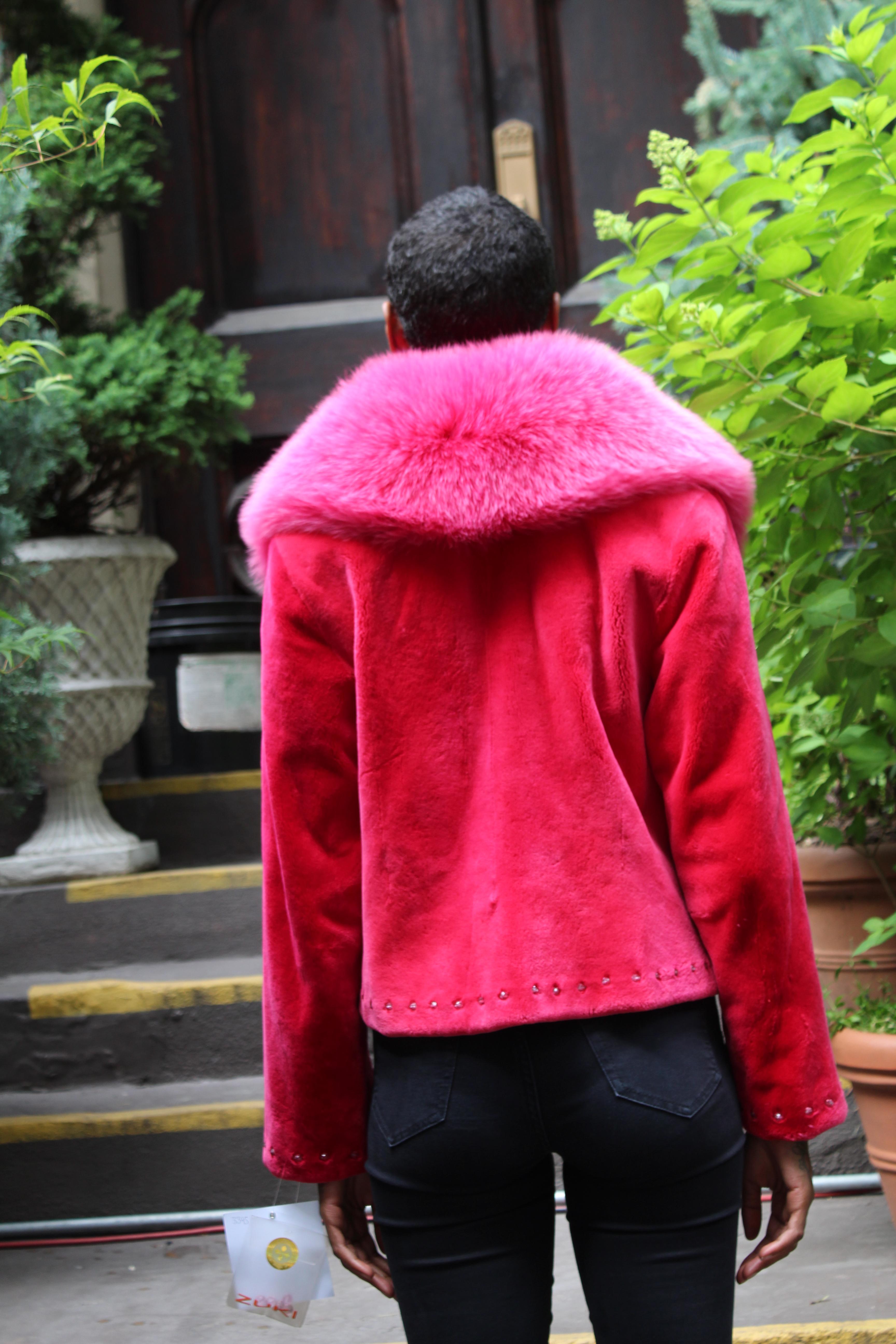 Zuki Fuchsia Sheared Beaver Jacket Fox Collar