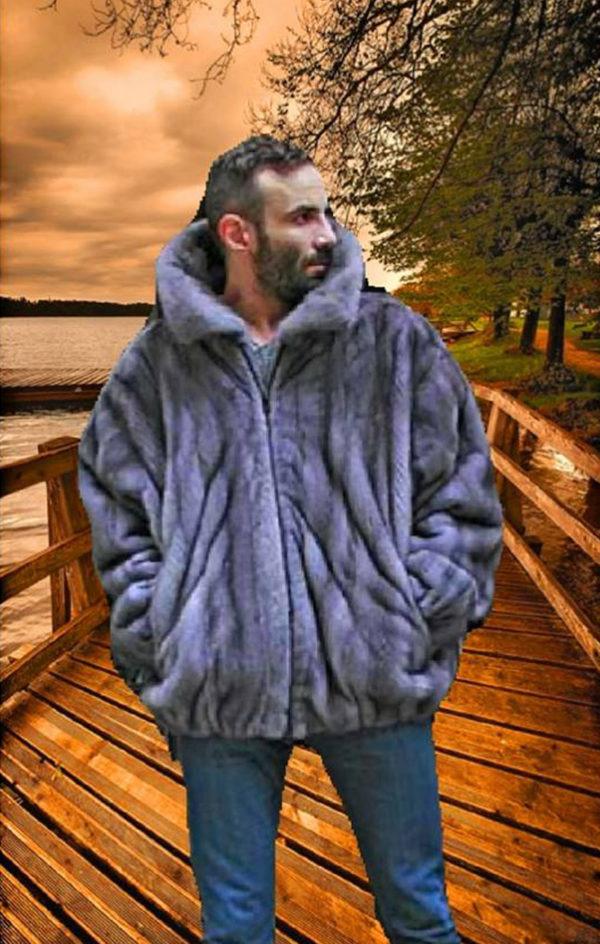Men in Natural Blue Iris Mink Bomber Fur Jacket