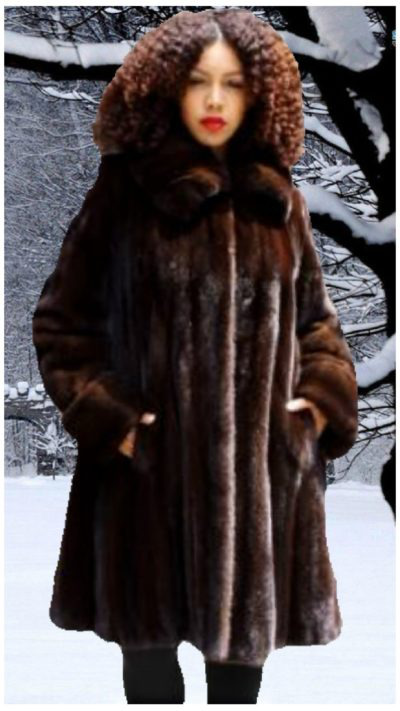 Woman wearing Plus Size Mahogany Mink Fur Stroller
