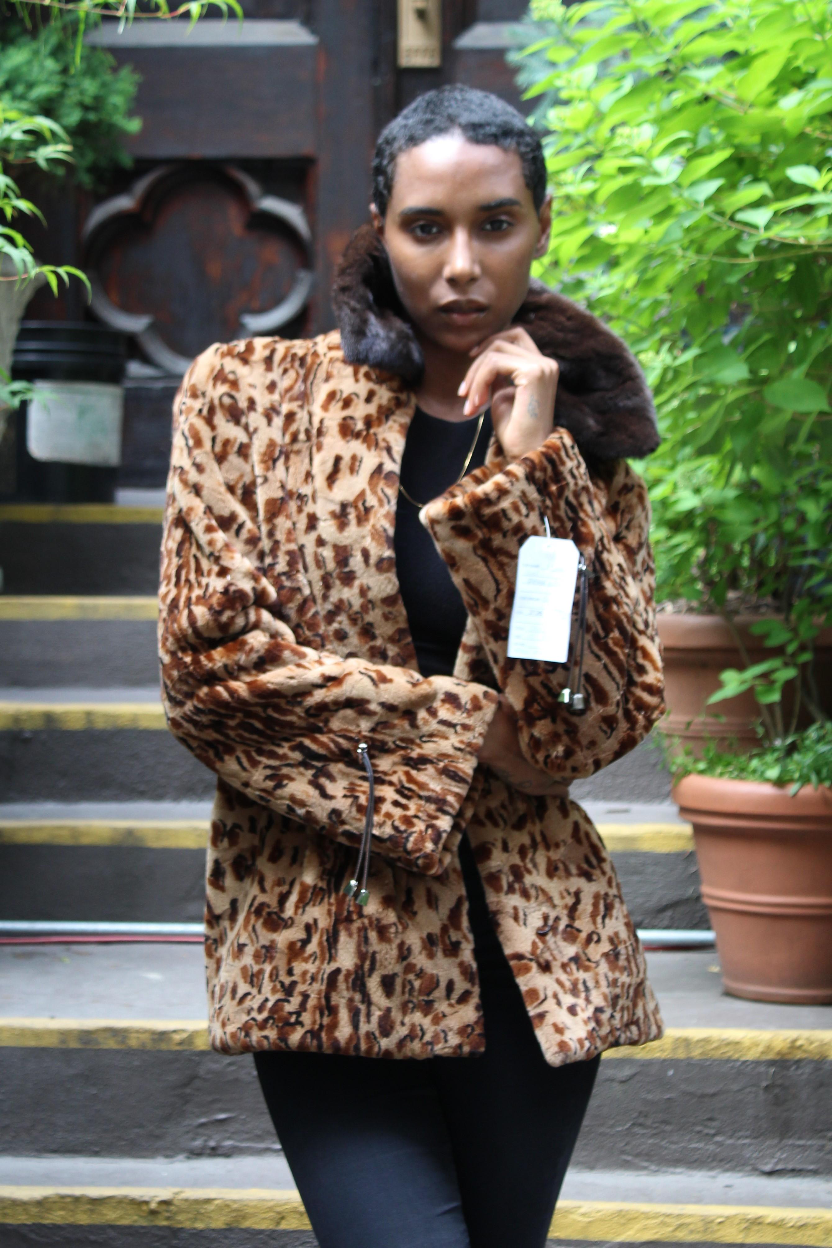 Leopard Sheared Mink Jacket