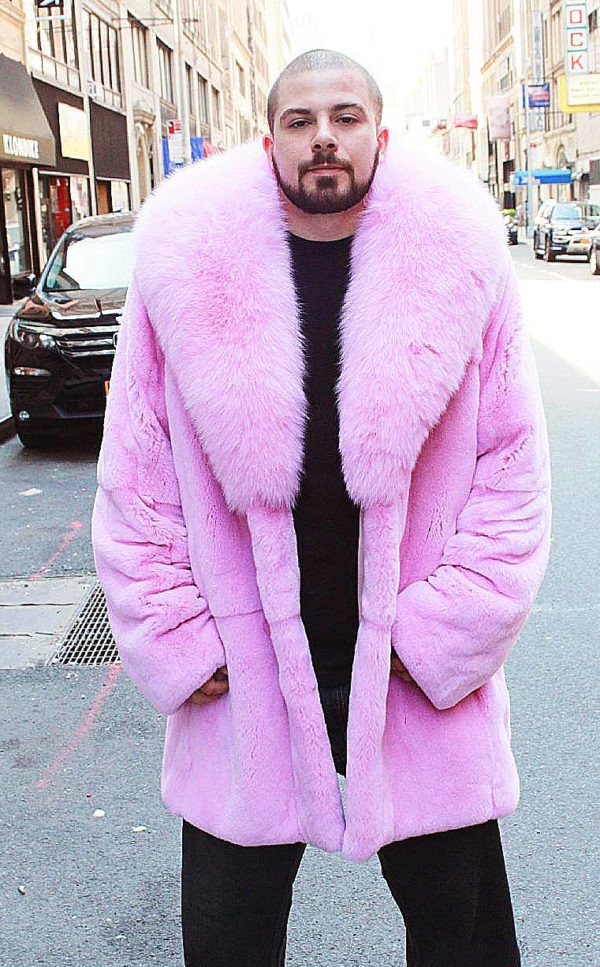 mens pink rex fur stroller