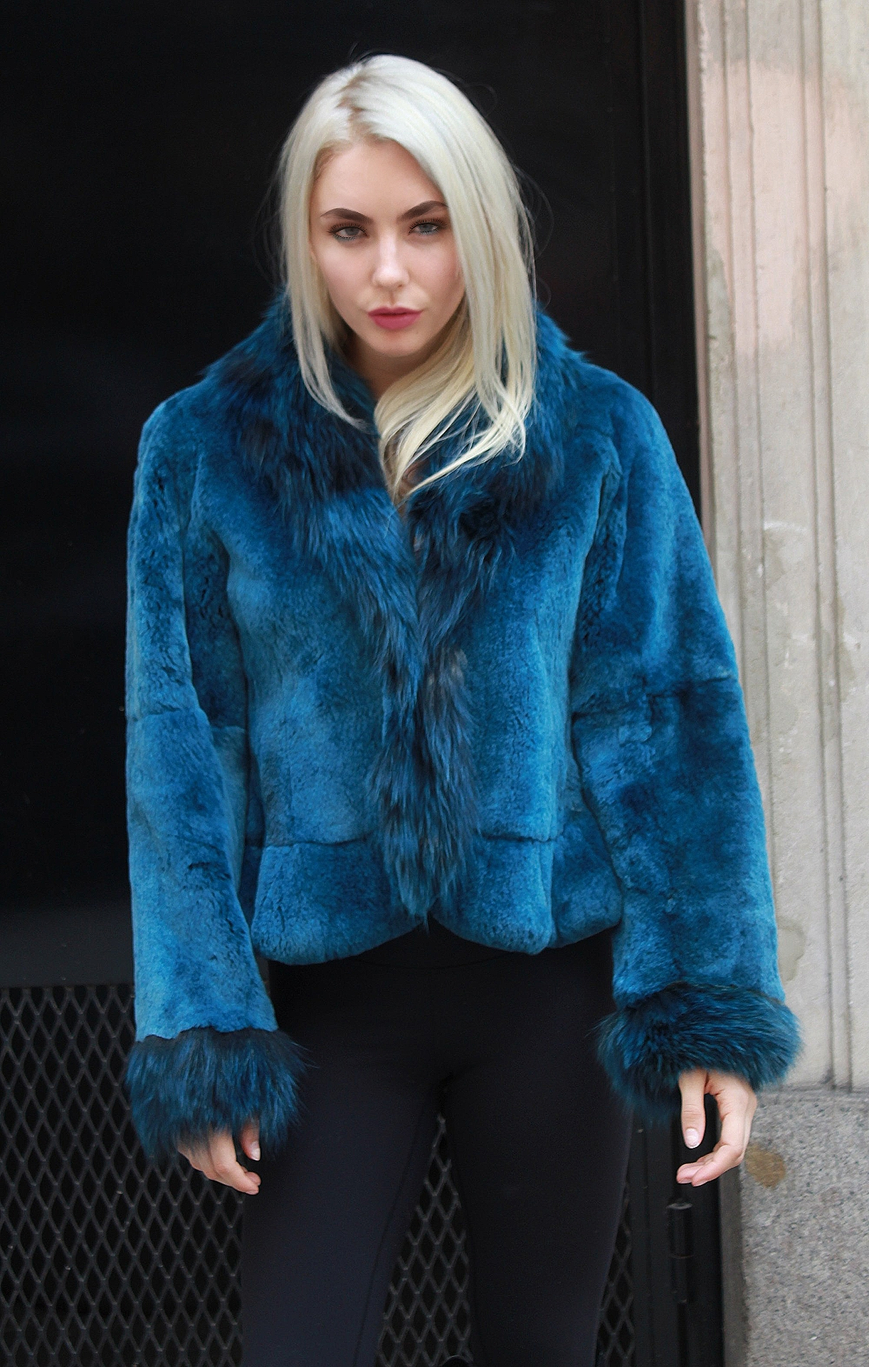 Blue rex rabbit jacket