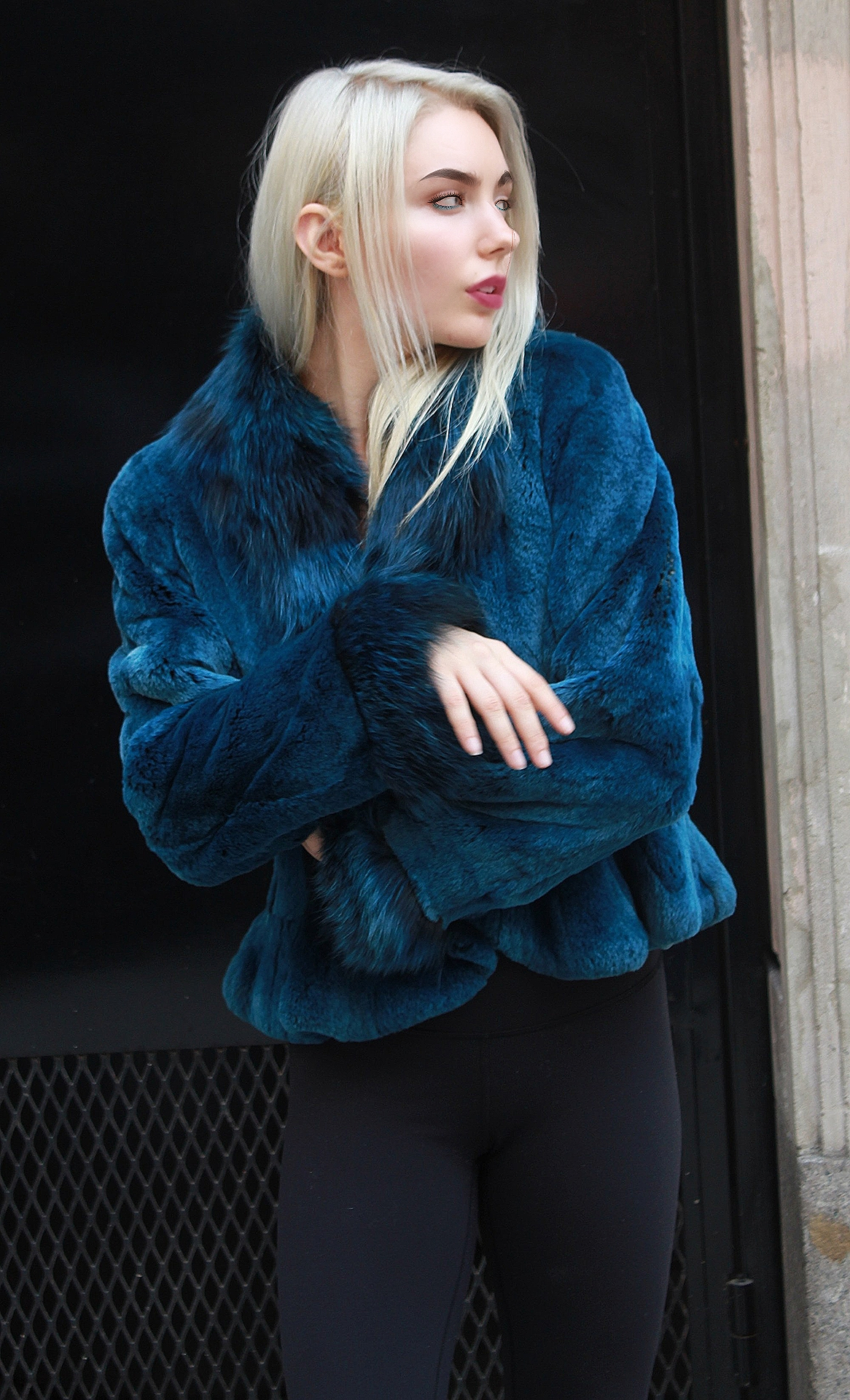 Blue Rex Rabbit Fur Jacket