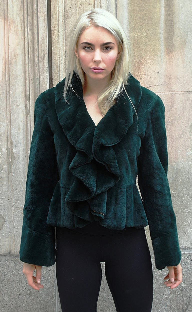 Dark Green Rex Rabbit Ruffled Jacket