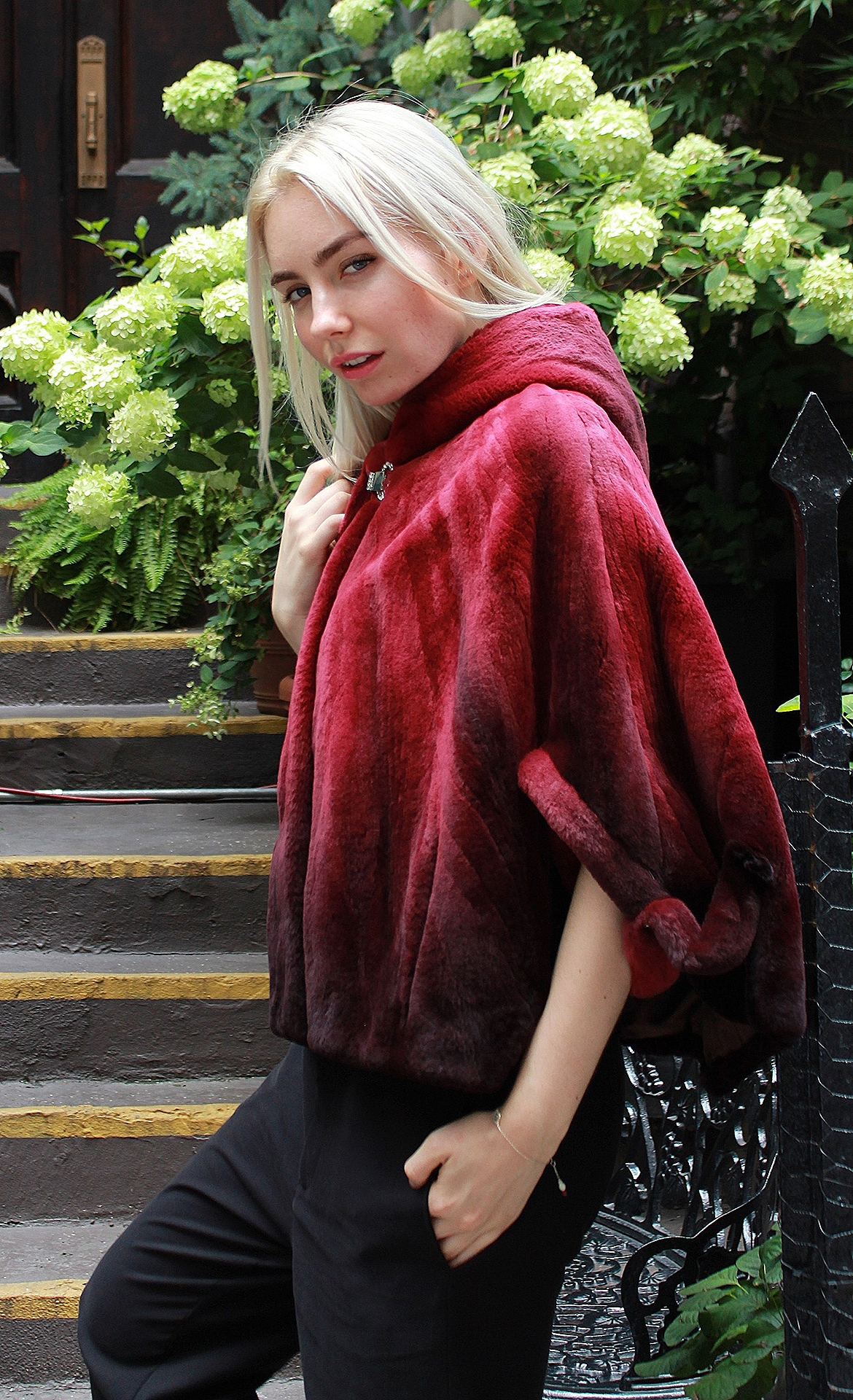 Degrade Burgundy Rex Fur Cape Hood
