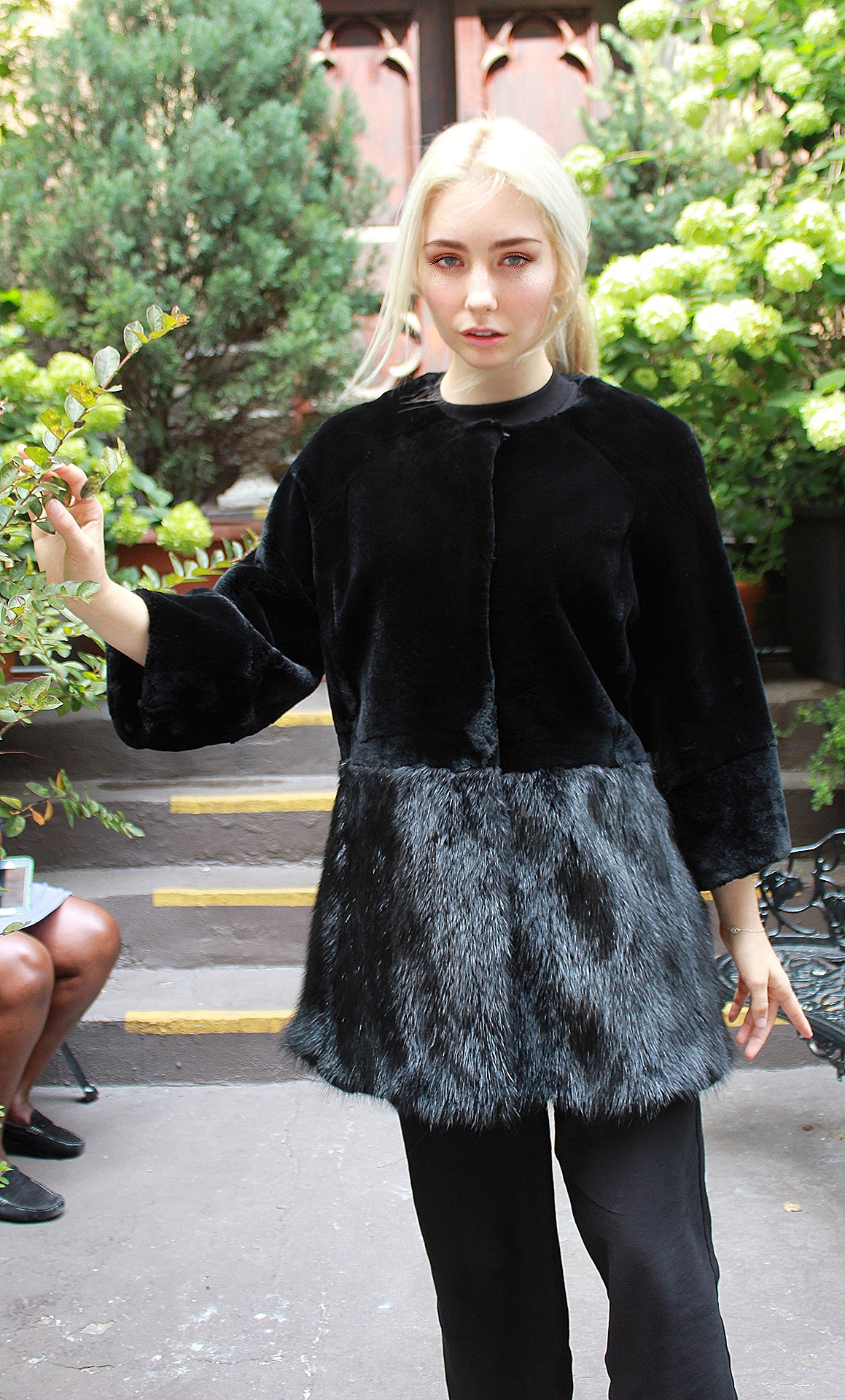 Black Rex Jacket Mink Skirt