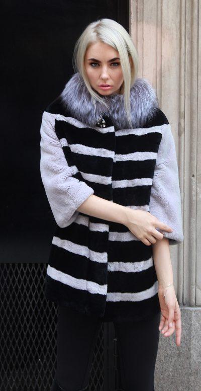 Black Gray Rex Rabbit Stroller Fox Collar