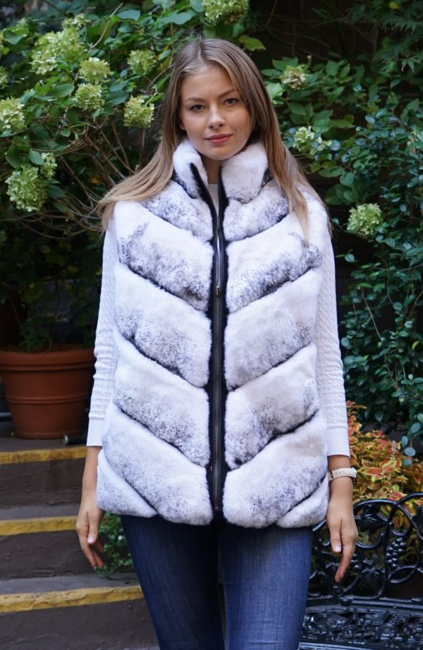 Causal White Cross Rex Fur Reversible Vest