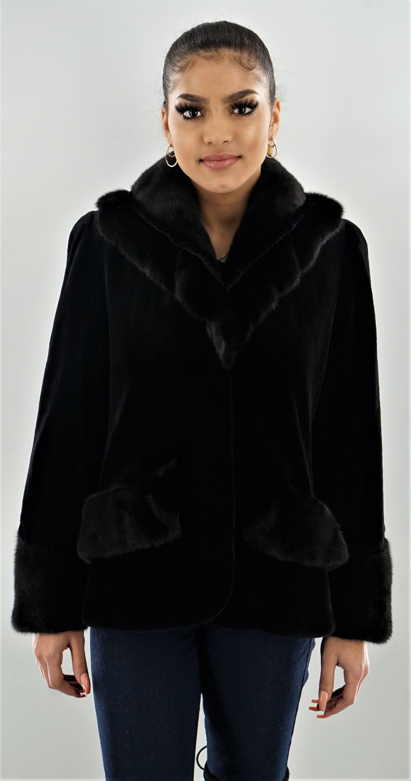 Black Sheared Mink Jacket Mink Trim