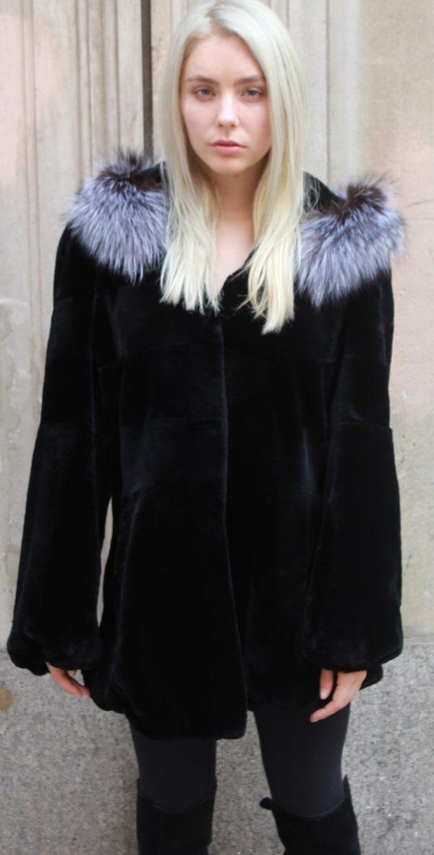 Black Sheared Rex Stroller Silver Fox Trim Hood