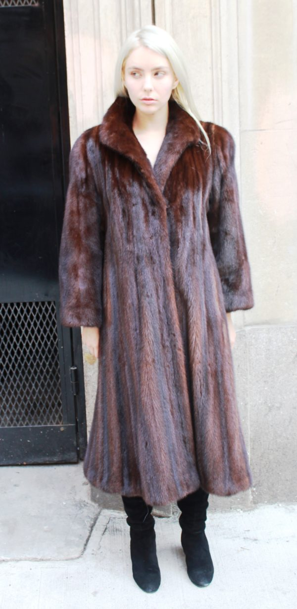 Estate Mahogany Mink Coat Size 10-12