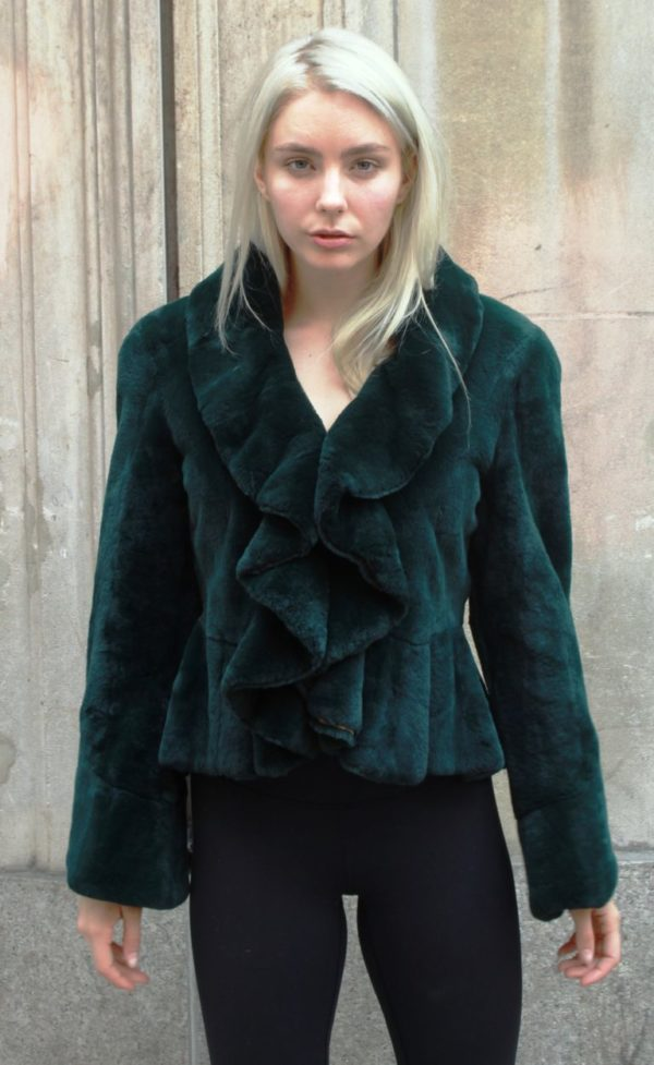 Dark Green Rex Rabbit Ruffled Jacket Size 6-8